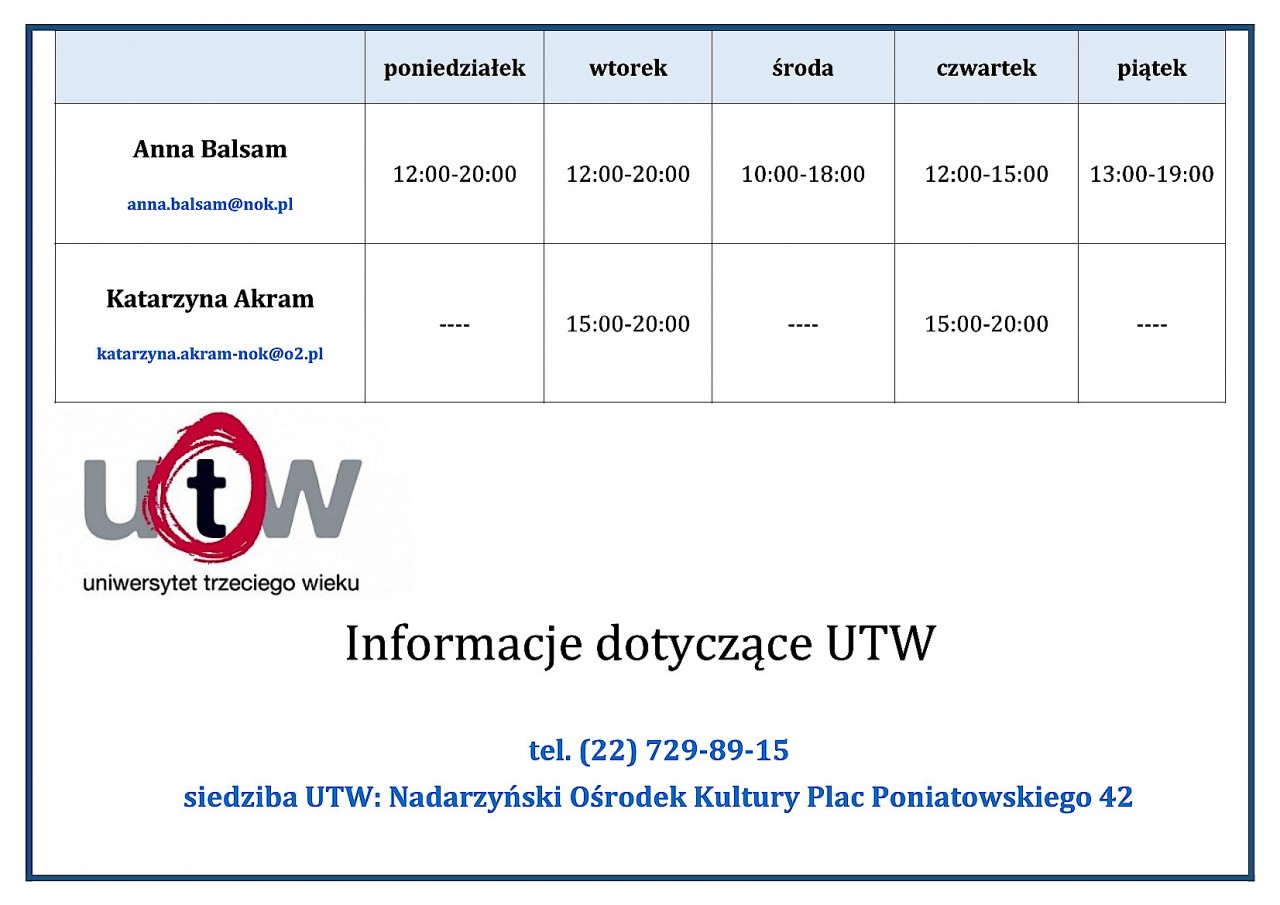 Harmonogram pracy UTW